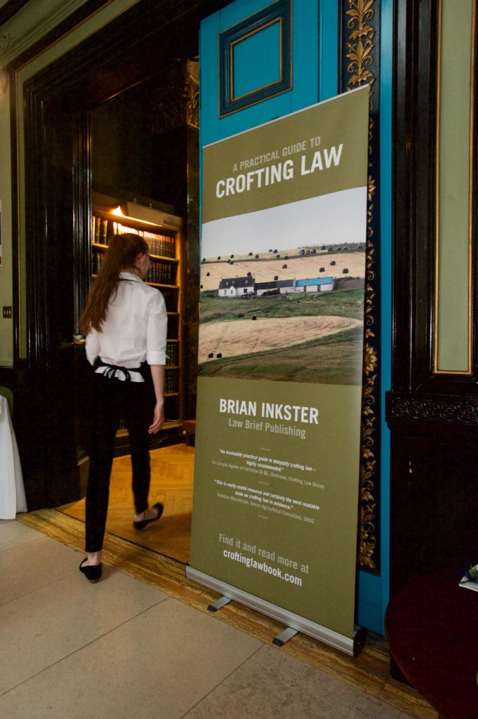 A Practical Guide to Crofting Law by Brian Inkster - Banner at the book launch at the Royal Faculty of Procurators in Glasgow
